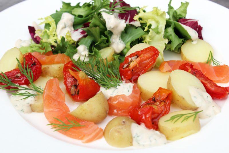 Aardappelsalade met zalm (Colruyt)