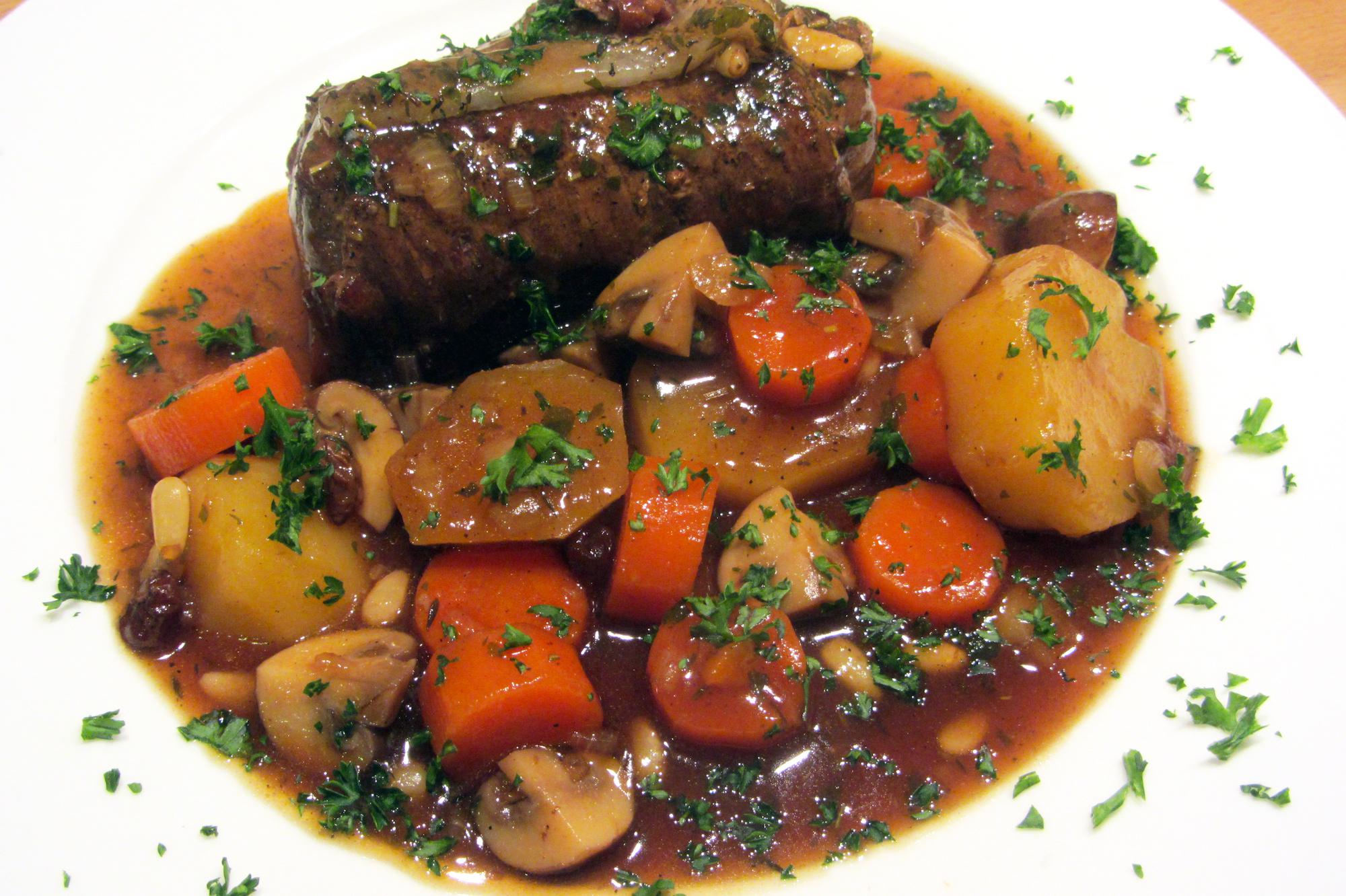 Blinde vinken met gestoofde groentjes in bruine saus (Colruyt)