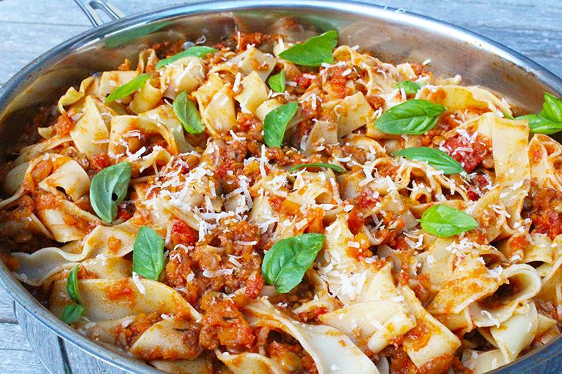 Bolognese van champignon en linzen (Jamie Oliver)