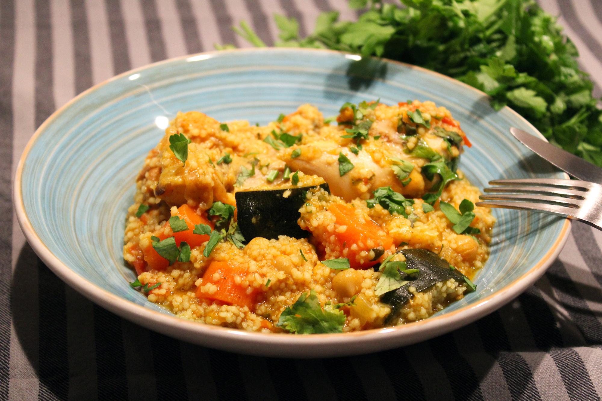 Couscous met kip en groenteweelde