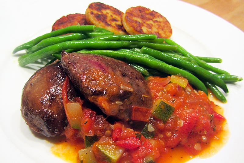 Duivenfilets met boontjes, röstis en een Toscaans sausje