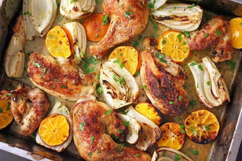 Geroosterde kip met mandarijnen (Ottolenghi)
