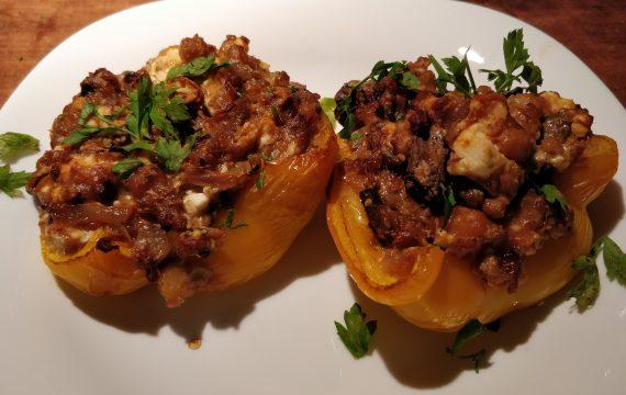 gevulde paprika linzen champignons