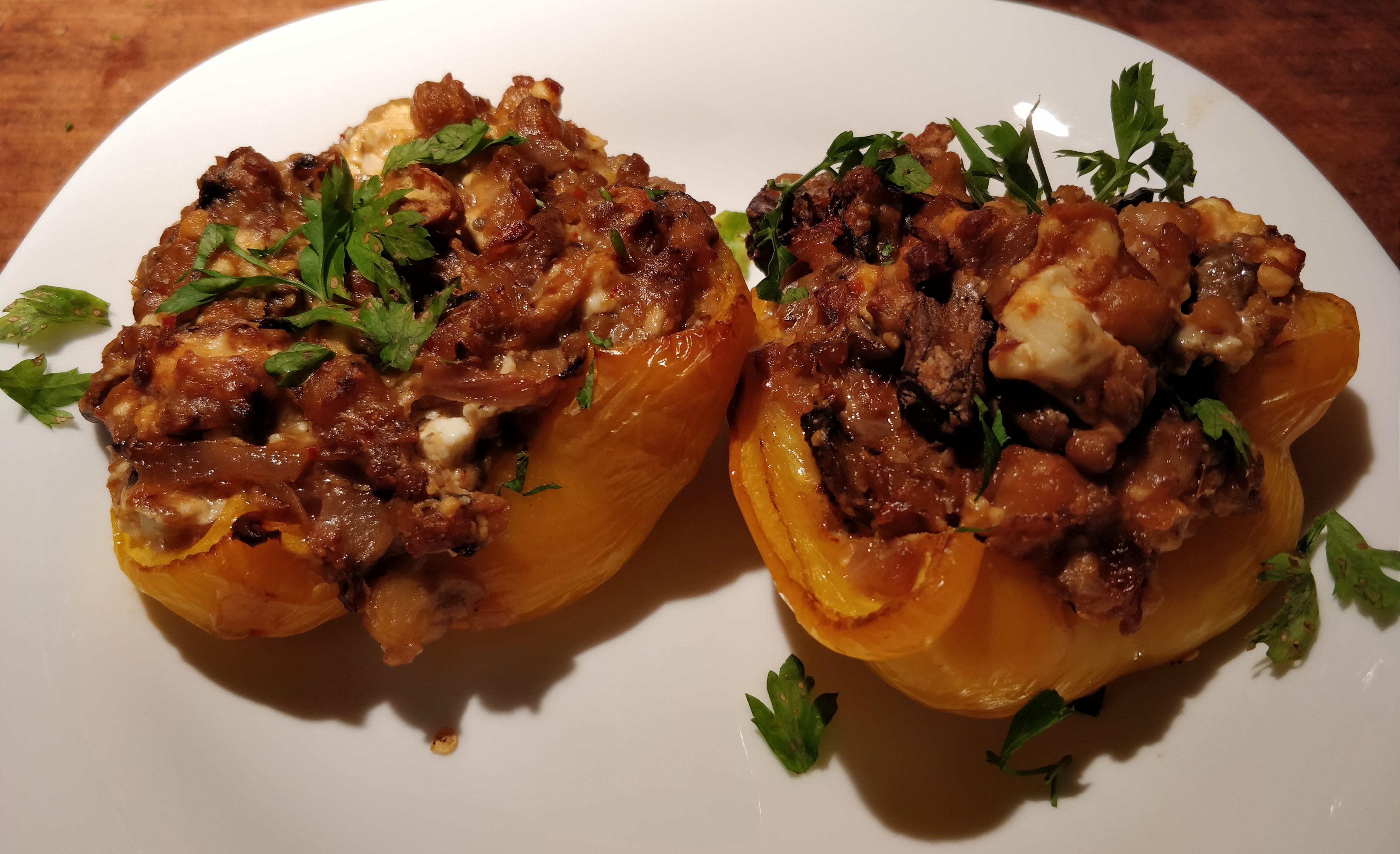 Gevulde paprika met linzen en champignons