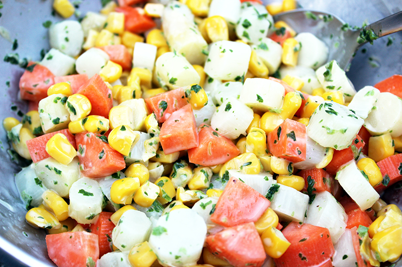 Lentesalade met asperges en maïs