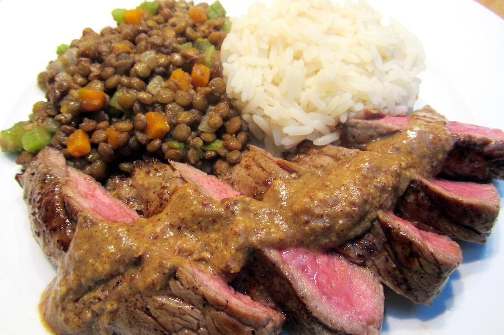 Linzenstoofpotje met steak en rijst (Colruyt)