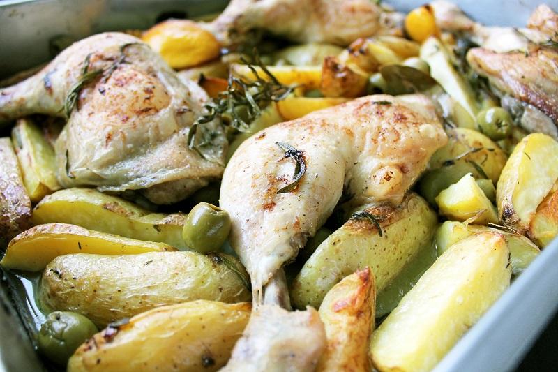 Mediterraanse chicken 'n chips (Jamie Oliver)