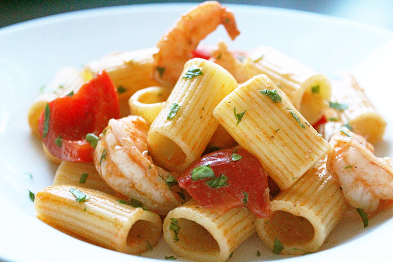 Pasta met scampi in whiskysaus