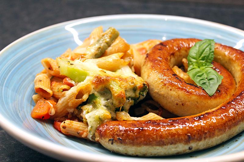 Pastaschotel met kippenchipolata (Colruyt)