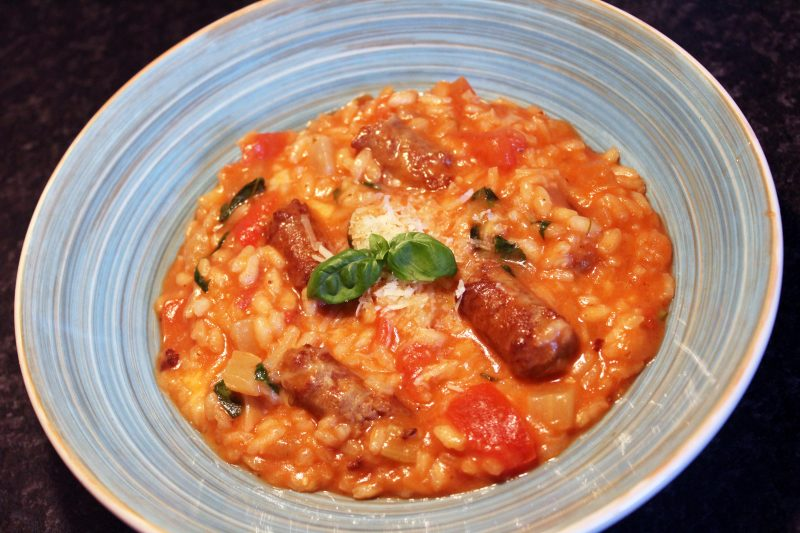 Risotto met chipolata en tomaat (Sofie Dumont)