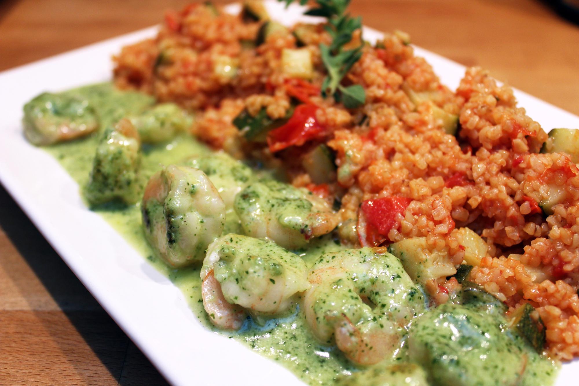 Scampi's in pestosaus met tomatenbulgur (Colruyt)
