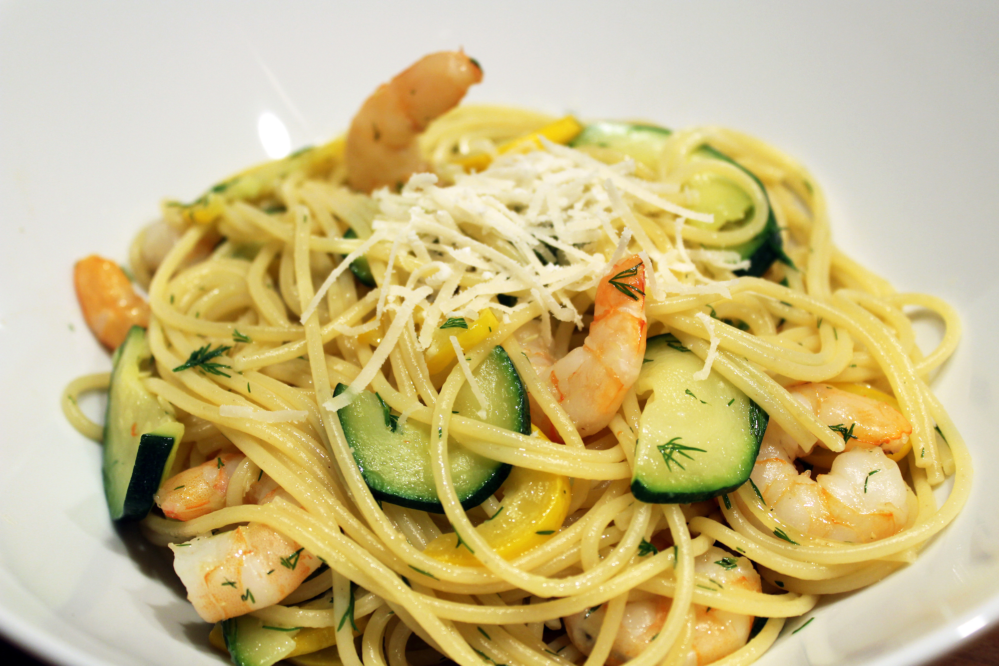 Spaghetti met garnalen en courgette (Jamie Oliver)