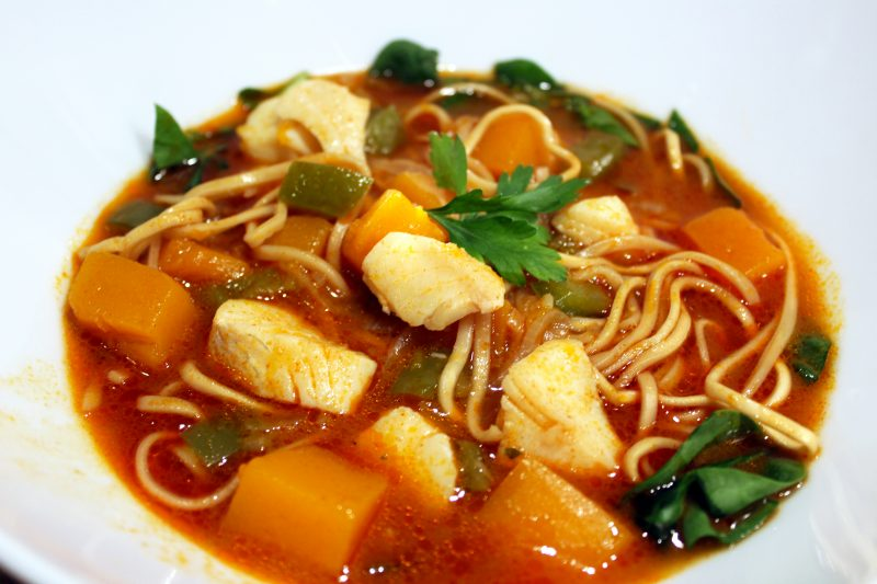 Thaise soep met vis en butternutpompoen (Colruyt)