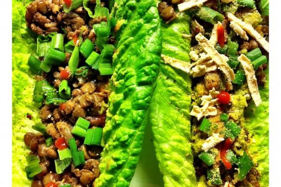 Veganistische tacos in salade wrap