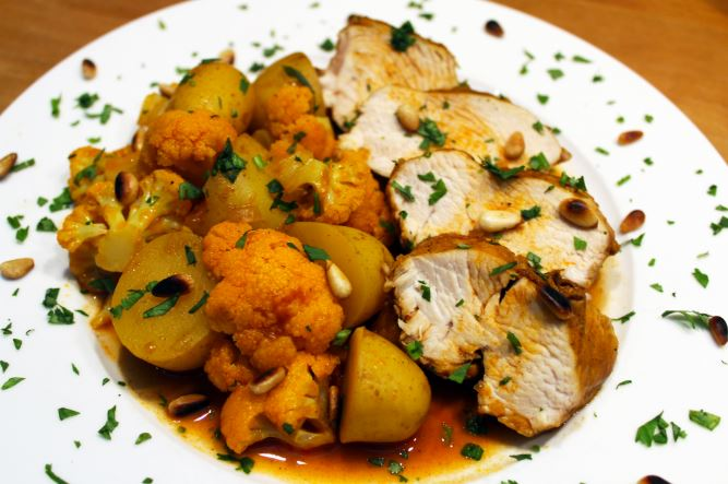 Oosterse curry met kip en bloemkool (Colruyt)